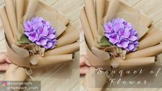 How to Wrap Flower Bouquet Using Kraft Paper [Felt Hydrangea] Paper Bouquet Diy, Felt Flower Bouquet, Bouquet Wrap, Flower Bouquet Wedding, Wrap Flowers In Paper, How To Wrap Flowers, Fabric Flowers, Flower Wrap, Flower Boxes