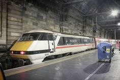 "@thedustybinman on Instagram: ""Frothy beast InterCity Swallow 91119 made it to Glasgow Central at last! Here it rests while staff prepare it for the run empty to…"" Electric Locomotive, Diesel Locomotive, High Speed Rail, Electric Train, British Rail, Train Engines, Swallow, Glasgow, Empty"