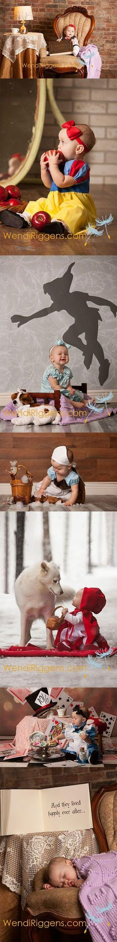 I have to do this with my baby girl! What an adorable disney baby photo shoot idea! At first, she's reading the fairytale book then it shows her in each character for each one! Last picture shows her asleep after all of her adventure! So cute! So Cute Baby, Baby Love, Cute Kids, Cute Babies, Baby Kids, Baby Pictures, Cute Pictures, Nerd, Princess Photo