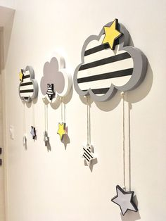 Mobile baby child room decoration 3 star clouds: Decoration for children by cha-choux Baby Room Design, Baby Room Decor, Nursery Room, Kids Bedroom, Nursery Decor, 3d Wall Decor, Bedroom Decor, Baby Mobile, Baby Kind