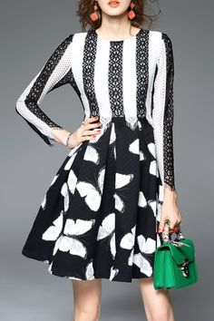 Blueoxy White/black Color Block Lace Print A Line Dress   Mini Dresses at DEZZAL Click on picture to purchase!