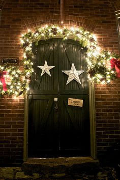 Door decorated for Christmas: St. Charles, MO