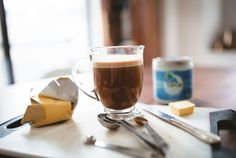 Give your morning brew the strength of a coconut!  Brew up 1½ c. coffee and pour into a blend before adding ¼ tsp. cinnamon, 1 tbsp. coconut oil, and 1 tbsp. high-quality butter. Blend it all together until smooth and enjoy!