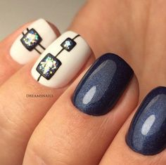 Navy and white nail art