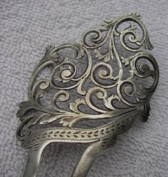 Fine AESTHETIC VICTORIAN Sterling LADIES HAIR COMB-Bright-Cut-Pierced Scrolls | eBay
