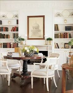 Trendy Home Library Table Dark Wood Ideas Architectural Digest, Library Table, Library Room, Music Library, Home Libraries, Trendy Home, Dining Area, Dining Rooms, Dining Table