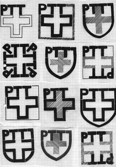 Adrian Frutiger PTT Logo Entwürfe, Berner Design Stiftung