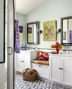 """Vidal, who owns a cement tile company called Design Vidal, picked up on the exotic theme, adding the kind of cement floor tile you might see in Spain — with one major difference. """"This pattern is based on a vintage block print from India,"""" she explains. """"I like to blur boundaries."""""""