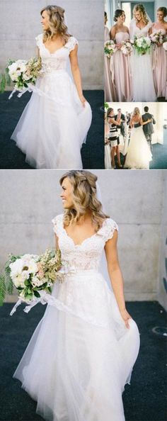 V-Neck Lace Tulle Cap Sleeve A-Line Wedding Dress