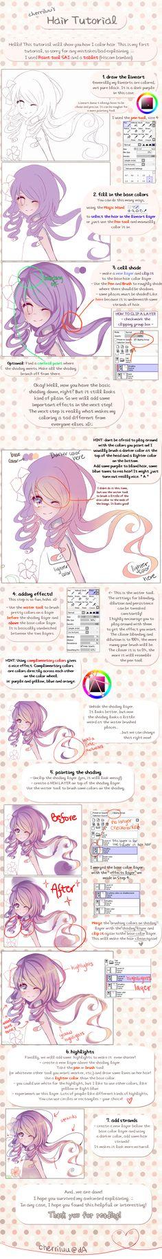Hair tutorial by cherriluu on DeviantArt