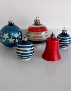 Stars and stripes ornaments | Stars and stripes - 5 vintage glass Christmas ornaments in red, white ...