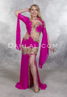 d8cf84ad1bb31 RIVIERA ROSES in Fuchsia and Gold by Designer Eman Zaki, Egyptian Belly  Dance Dress from