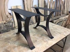 28 INCH TALL STEEL DINING TABLE BASE SET! Flat Black Golden Gate Metal Table Base! Dining Table Legs! 28 Inch Tall! O-158
