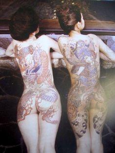 Japanese bath-house — 2 ladies, Yakuza style