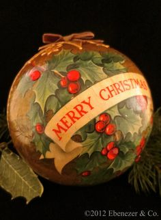 Handcrafted Heirloom Decoupage Ornament featuring Vintage Carolers and Holiday Greeting