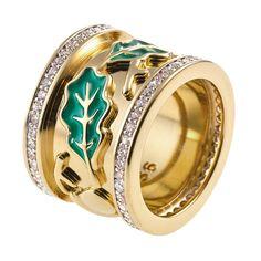 CIRO WALDHEIMAT ring/yellow big Cirolit white, enamel green, gold-plated