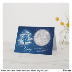 Shop Blue Christmas Tree Christmas Photo 2 Holiday Card created by Ruxique. Blue Christmas, Christmas Photos, Christmas Tree, Johnson Family, Holiday Cards, Seasons, Holidays, Prints, Image
