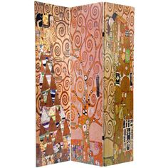 Sturdy, portable folding screen, built from art quality canvas stretched over kiln dried wood frame panels. On both sides is a collage of three of Gustav Klimt's most well-known works. Add a splash of warm color and artistic design to the interior of any room, home or office.
