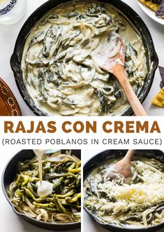 Rajas con Crema is an easy Mexican dish that combines roasted poblano peppers with onions, Mexican cream, and melted cheese. It's a creamy and satisfying recipe to enjoy for lunch or dinner with a warm tortilla, or as an appetizer with tortilla chips! #rajasconcrema #roastedpoblanos Easy Mexican Dishes, Mexican Dinner Recipes, Roasted Poblano Peppers, Stuffed Poblano Peppers, Homemade Tortilla Chips, Homemade Tortillas, Easy Shredded Chicken, Different Vegetables, No Calorie Foods