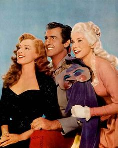 (From left to right) Eleanor Parker, Stewart Granger, and Janet Leigh in a promotional photograph for Scaramouche (1952), directed by George Sidney.