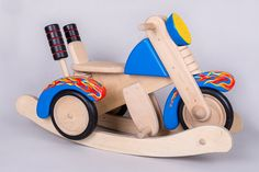 Wooden Rocking Motorcycle, Rocker Motorcycle, Wooden Rocking Toy, Motorcycle for Children, Children Motorcycle on Etsy, $300.00