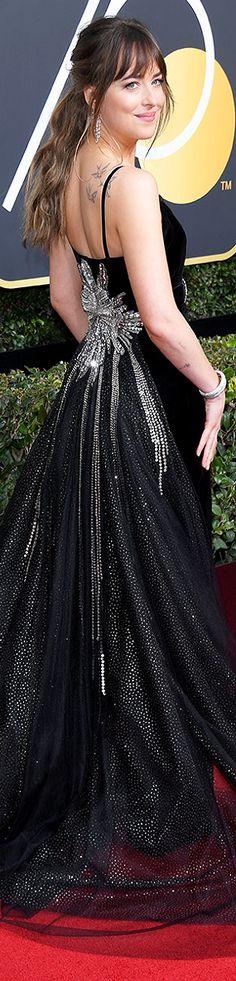 Dakota Johnson in Gucci at the 2018 Golden Globes