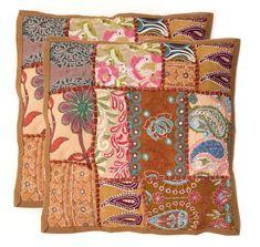 "Handmade Khambodia Patchwork Indian Cushion Cover Decor Pillow Case 16"" 2 Pcs #Handmade #Indian Sofa Cushion Covers, Cushions On Sofa, Pillow Covers, Patchwork Cushion, Embroidered Cushions, Linen Pillows, Decorative Pillows, Throw Pillow Cases, Throw Pillows"
