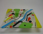 fused glass - geometric centered dip plate