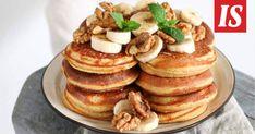 Pannukakuilla sopii herkutella kiireettömänä viikonloppuna – tai sitten tuomalla luksusta arkiaamuun! Teet, Pancakes, Breakfast, Food, Morning Coffee, Essen, Pancake, Meals, Yemek