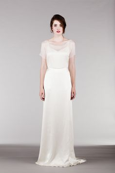 Silk Chiffon Wedding Dress with Illusion Neckline