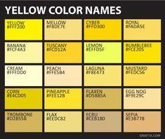 Yellow Color Names – yellow color - Yellow Things Colour Pallette, Colour Schemes, Color Combos, Shades Of Yellow, Color Shades, Color Mixing Chart, Color Palette Challenge, Color Meanings, Color Psychology