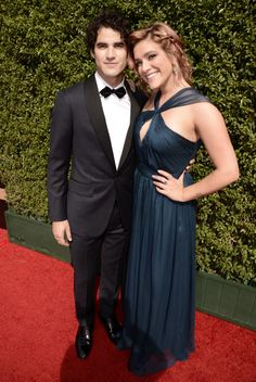 Darren Criss and Mia Swier arrive at the Television Academy's Creative Arts Emmy Awards at Microsoft Theater on Saturday, September 12, 2015, in Los Angeles