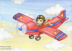 Boy and Red Plane ORIGINAL watercolour painting by Wishsongdesign, $65.00