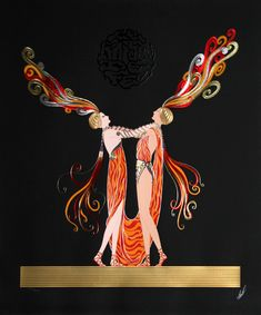 Erte. Kiss of Fire. 1983. Media : Graphic Edition, Embossed Serigraph with Foil Stamping.