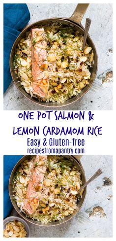 Need an easy weeknight recipe? Then check out this gluten-free one pot salmon with lemon cardamom rice. It is so, so good. recipesfromapantry.com #onepotsalmon #onepansalmon #onepotsalmonandrice