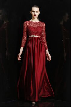 Glamour Bateau Neckline Long Burgundy Silk Lace Beaded Evening Prom Dress With Sleeves