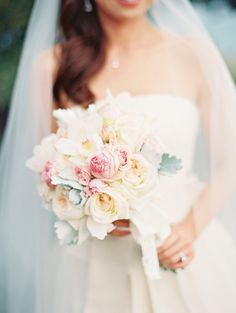 Pastel Floral and Dusty Miller Bridal Bouquet | photography by http://www.kinawicks.com/