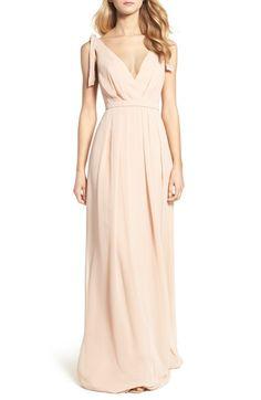 Monique Lhuillier Bridesmaids Sleeveless Deep V-Neck Chiffon Gown (Nordstrom Exclusive) | Nordstrom