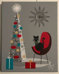EL GATO GOMEZ HOLIDAY CARD 1950'S CHRISTMAS TREE CAT MID CENTURY MODERN EAMES  | eBay