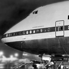 Pan Am's 747 Clipper Rainbow was delivered by Boeing on March 2, 1970. Here she is in the final assembly line, 1969.