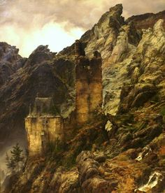 Carl Friedrich Lessing, Rocky landscape: Gorge with ruins; 1830