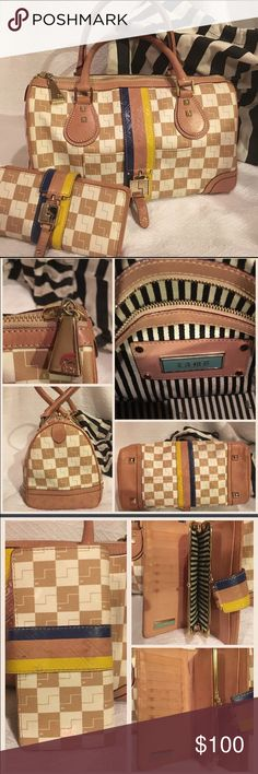 """L.A.M.B. Gwen Stefani beige leather bag & wallet. Gorgeous L.A.M.B. Gwen Stefani beige checkered leather bag and wallet.  The bag is in great condition with light usage stains which can be cleaned easily. It measures 13""""L by 8"""" T and 7""""D.  The wallet has inner stains which are shown on the pictures. They can also be cleaned.  The price reflects its condition. It comes with its original dust bag. L.A.M.B. Bags Satchels"""