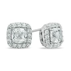 Zales Multi-Shaped Lab-Created White Sapphire Art Deco Stud Earrings in Sterling Silver Skmm8ec