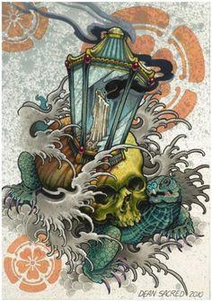 55 Trendy Tattoo Designs New School Skulls Japanese Tattoo Art, Japanese Tattoo Designs, Japanese Sleeve Tattoos, Japanese Art, Japanese Prints, 4 Tattoo, Body Art Tattoos, Tattoo Drawings, Japan Tattoo