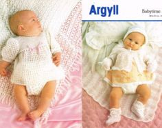 download PDF  Pattern - Crochet and Knitting Patterns - Baby Dress, Matinee Coat, Bonnet, Booties and Shawls
