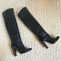 Shoes | Made In Italy Black Leather Over The Knee Boots | Poshmark Black Over Knee Boots, Leather Over The Knee Boots, Vintage Boots, Black And Brown, Black Leather, Slip On, Italy, Heels, Fashion