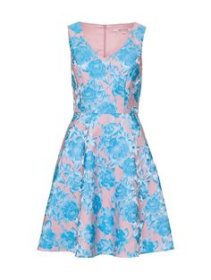 With a stunning non-stretch jacquard in blush and baby blue, the Bluebelle Dress has a circular skirt and v-neck. Melbourne Cup Fashion, Rachel Khoo, Review Dresses, Put On, Knitwear, Summer Dresses, Dresses 2014, Glamour, Clothes For Women