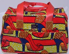 Lovely Ankara Red Shoe Oil Cloth African Print Day Bag (WOW ETSY PRICE - Look!)