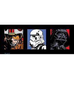Star Wars Triple Pack, Box Art Squares http://www.childrens-rooms.co.uk/star-wars-triple-pack-box-art-squares.html #starwars #boxart #lukeskywalker #darthvader #stormtrooper