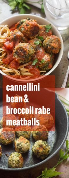 These vegan cannellini bean and broccoli rabe meatballs are packed with savory, garlicky flavor and are perfect drenched in marinara sauce over spaghetti!